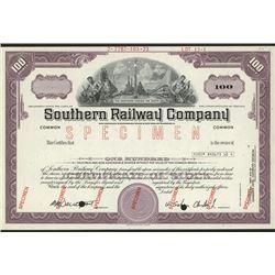 Southern Railway Co., Specimen Stock Certificate.