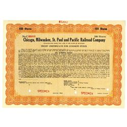 Chicago, Milwaukee, St. Paul and Pacific Railroad Co., ca.1920-1930 Specimen Stock Certificate