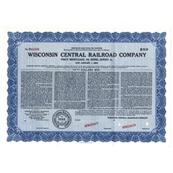 Wisconsin Central Railroad Co., 1954 Specimen Bond
