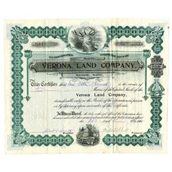 Verona Land Co., 1915 Issued Stock Certificate