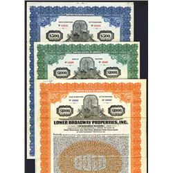 Lower Broadway Properties, Inc., Lot of 3 Specimen Bonds, ca. 1926 and 1927