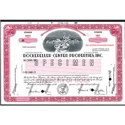 Rockefeller Center Properties, Inc. Specimen Stock Certificate.