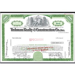 Tishman Realty & Construction Co. Specimen Stock Certificate.
