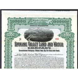Spokane Valley Land and Water Co., Specimen Bond.