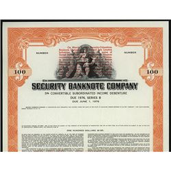 Security Banknote Company 1967 Merger Specimen Bond.
