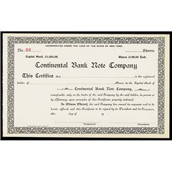 Continental Bank Note Co. Stock Cert.