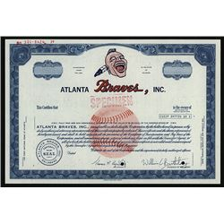 Atlanta Braves, Inc., ca.1960-1970 Specimen Stock