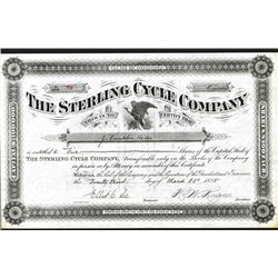 Sterling Cycle Co., Issued Stock Certificate.