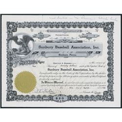 Sunbury Baseball Association, Inc. Issued Stock Certificate.