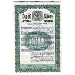 City of Athens, 1913 Specimen Bond