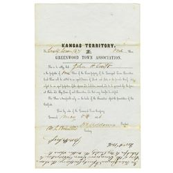 Greenwood Town Association, 1856 Issued Stock Certificate