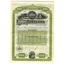 City of Portland, 1894 Specimen Bond