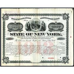 State of New York, Bureau of Canal Affairs. 1895, Specimen Bond.