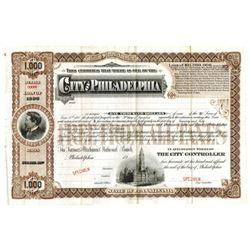 City of Philadelphia, 1898 Specimen Bond