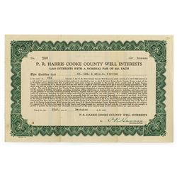 P. R. Harris Cooke County Well Interests, Issued Stock Certificate
