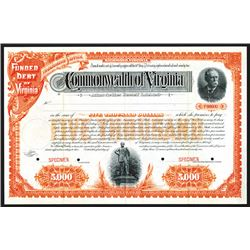 Commonwealth of Virginia. 1891. Specimen Bond.
