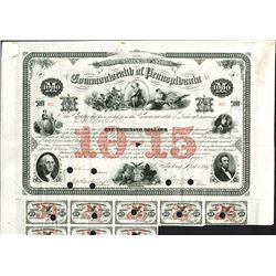 Commonwealth of Pennsylvania, 10-15 Six Per Cent loan of 1867, Issued Bond.