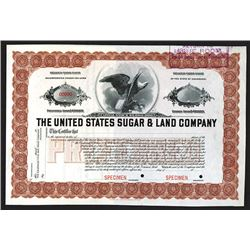 United States Sugar & Land Co., ND ca.1910-20's Specimen Stock Certificate.