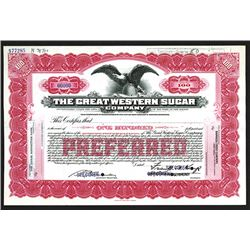 Great Western Sugar Co., ND ca.1910-20's Specimen Stock Certificate.