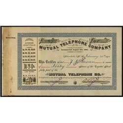 Mutual Telephone Co. 1895 Stock Certificate.