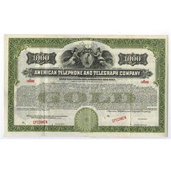 American Telephone and Telegraph Co., ca.1910-1920 Specimen Bond