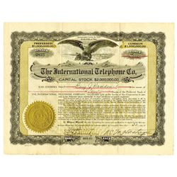 International Telephone Co., 1920 Issued Stock Certificate