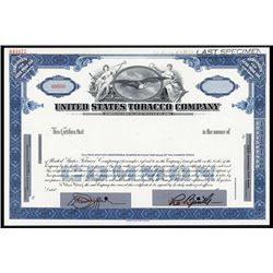 United States Tobacco Co. Specimen Stock Certificate.