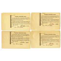 Centre Turnpike Road, 1812 Stock Certificate Quartet.