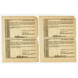Centre Turnpike Road, 1821 Stock Certificate Quartet.