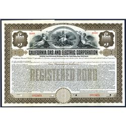California Gas and Electric Corp, Specimen Bond.