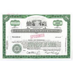 California Water Service Co., 1969 Specimen Stock Certificate