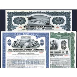 Montana Utilities Specimen Bond Trio, ca.1913 to 1940's.