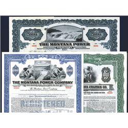 Montana Utilities Specimen Bond Trio, ca.1913 to 1940's.
