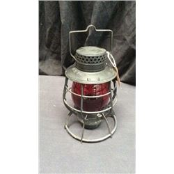City Of New York Dietz Lantern No. 39 Steel Claud Red Globe Marked New York  Deitz Usa