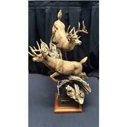 Natures Gallery By Danny Edwards Signed and numbered resin statue of two white  tail deer No. 168/25