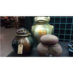 3 Unique Pottery Pieces 1 Signed