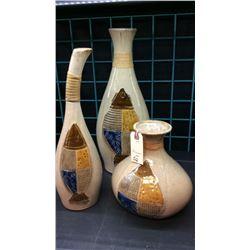 3pc Pottery Vase Set