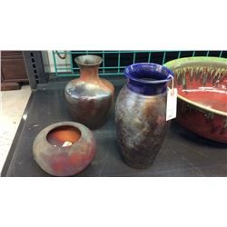 3 Signed Pottery Vases