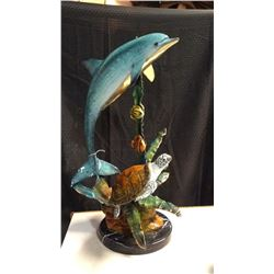 Bronze Dolphins & Sea Life With Poly Chrome Finish 32'' h 20''w x 16''d