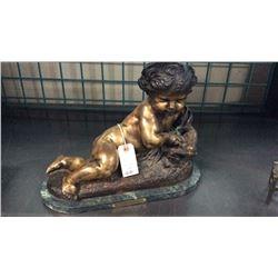 "Nude Boy Bronze By Moreau 15"" w x 12""t"