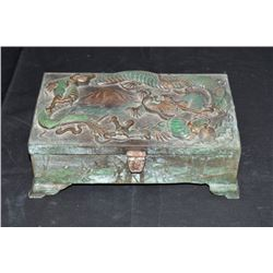 Antique Chinese Bronze Dragon Box This Is A Very Heavy Bronze Box.  The Top Lid  Has A Beautifully E