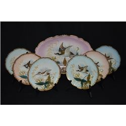 Antique Limoges, Game Fowl Platter & Plates This Is A Beautiful Hand Painted Platter And  Plate Set