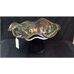 "Signed Large Art Glass Vase 12""t x 18""w"