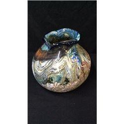 "Signed Art Glass Vase 9""T x 10""W"