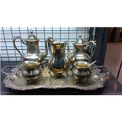 6pc Loveland Rose Service Set Silver Plate Coffee, Tea, Pitcher, Creamer, Sugar, Spoon  and Tray. Pi