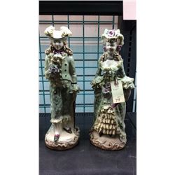 "Pair Of Signed Porcelain Figures 16"" T. Minor Crack"