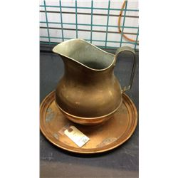 Copper Pitcher And Tray