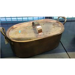 "Heavy Copper Pot With Lid 17 1/2"" x 10 1/2"" x 7""T"