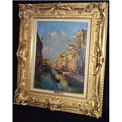 Duprat Venetian Original Oil Painting Albert Duprat (1882-1974) Was An Accomplished  Venetian Painte