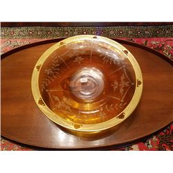 Hawks Signed Bowl Steuben Blank Signed Hawkes Exquisite Engraving-gold Work